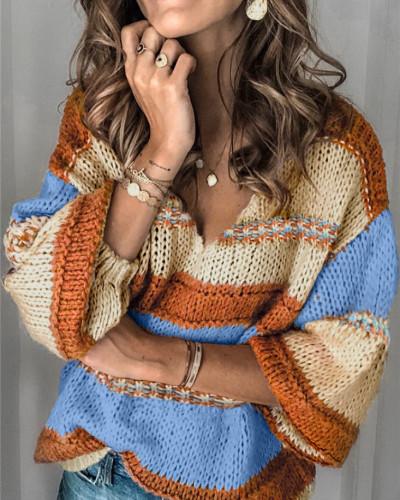 Orange Nine-sleeve casual women's sweater