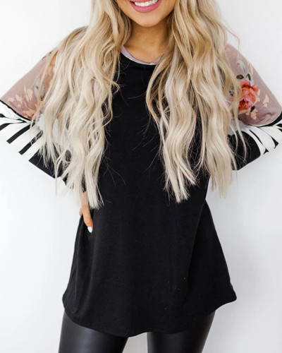 Black Loose round neck long sleeve pullover sweater