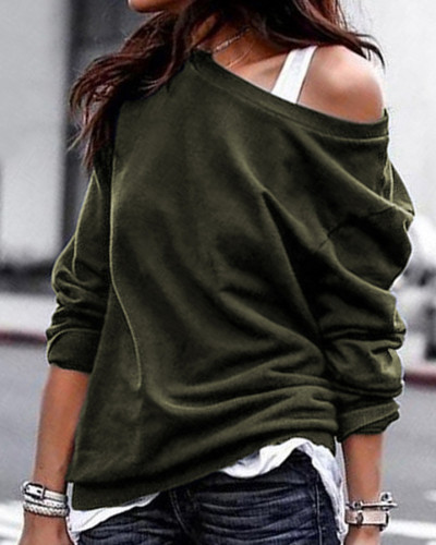Green Single side off-shoulder pullover round neck pullover sweater