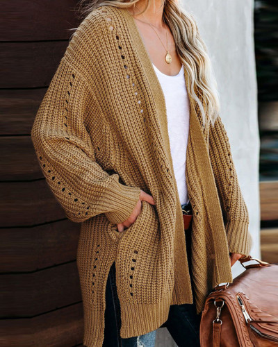 Yellow Solid color coat loose sweater coat