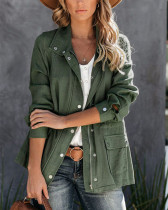 Pure color casual women's trench coat with pocket lapel