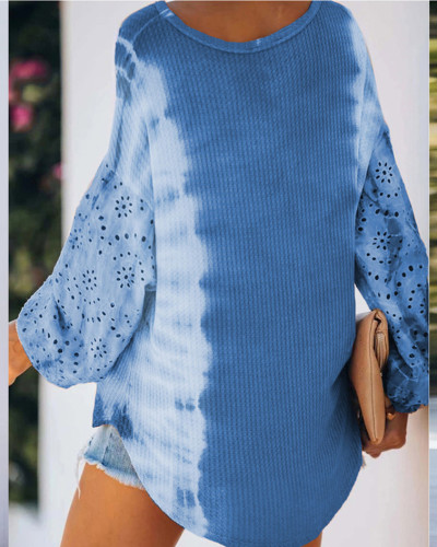 Blue Round neck long sleeve pullover