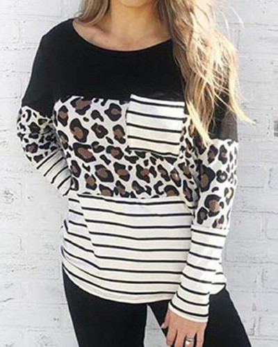 Leopard Street style round neck long sleeve ladies blouse