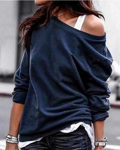 Blue Single side off-shoulder pullover round neck pullover sweater