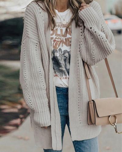 Beige Solid color coat loose sweater coat