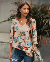 Apricot Short sleeve V-neck pullover shirt