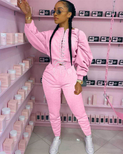 Pink Casual strappy sweater suit