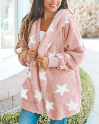 Pink Printed double-faced fleece hooded loose women's top