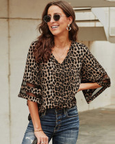 Leopard Short sleeve V-neck pullover shirt