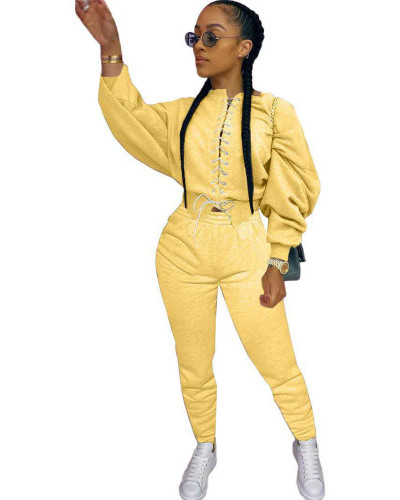 Yellow Casual strappy sweater suit