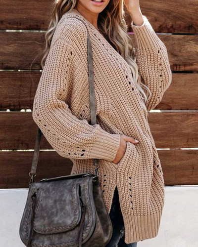 Apricot Solid color coat loose sweater coat