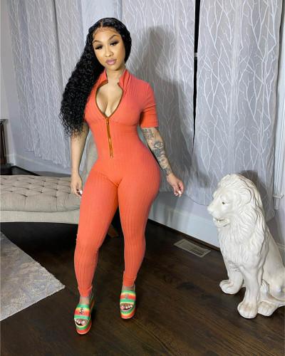 Orange Sexy big pit striped jumpsuit tights