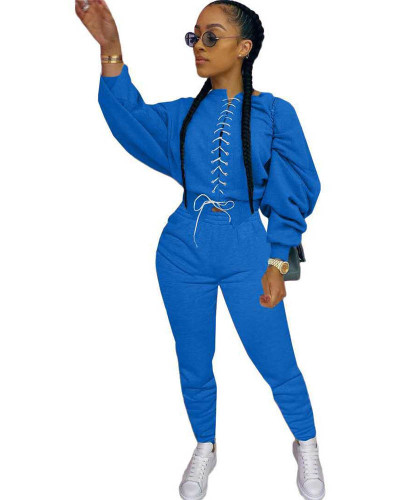 Bule Casual strappy sweater suit