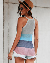 Gray Halter round neck sleeveless knitted top