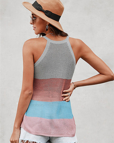 Halter round neck sleeveless knitted top