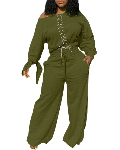 Army green Two-piece casual solid color tie knotted wide-leg pants