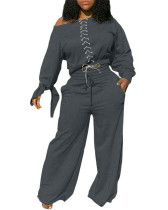 Dark gray Two-piece casual solid color tie knotted wide-leg pants