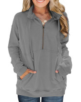 Gray Zipper lapel pullover ladies sweater