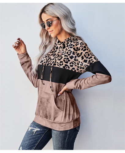 Brown Leopard crew neck pullover sweater