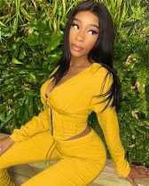 Yellow Zip deep V sexy hooded jacket with ruffle trousers two-piece suit