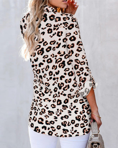 Leopard V-neck cardigan women's shirt