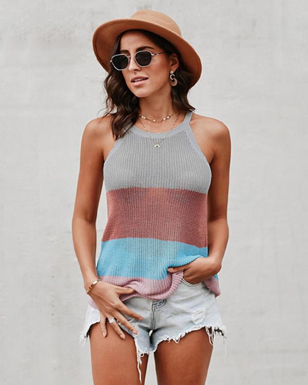 Halter round neck sleeveless knitted top