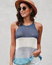 Dark Blue Halter round neck sleeveless knitted top