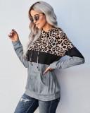 Gray Leopard crew neck pullover sweater