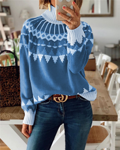 Blue Turtleneck sweater pullover top
