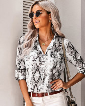 Gray V-neck cardigan women's shirt