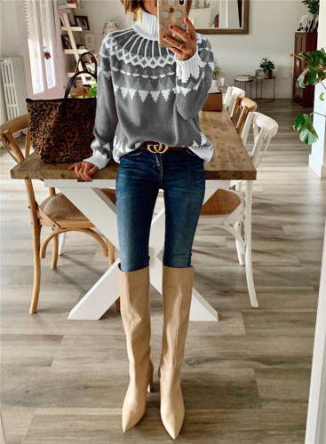 Gray Turtleneck sweater pullover top