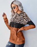 Orange Leopard crew neck pullover sweater