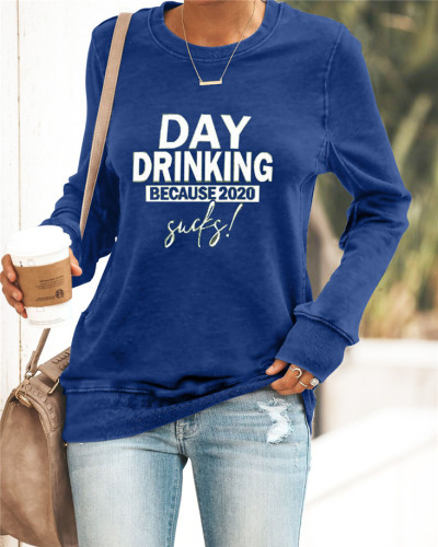 Blue Printed round neck casual pullover ladies sweater