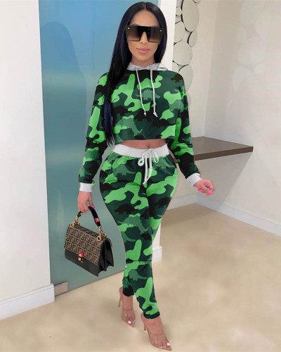 Drop-shoulder long-sleeved tie-dye letter hooded casual two-piece suit