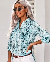 Blue V-neck cardigan women's shirt
