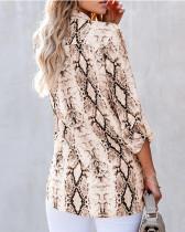 Brown V-neck cardigan women's shirt
