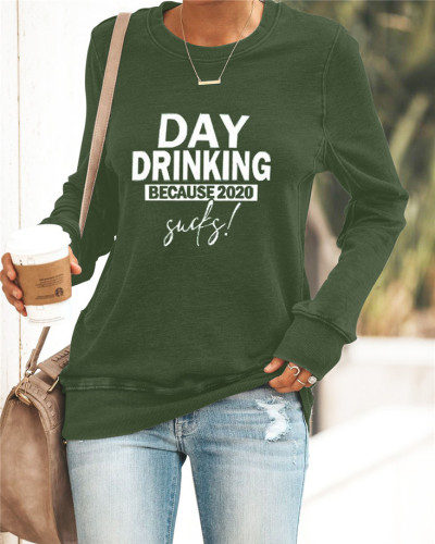 Green Printed round neck casual pullover ladies sweater