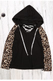 Leopard print hooded rope pullover sweater
