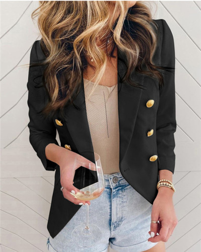 Black Street style slim suit jacket