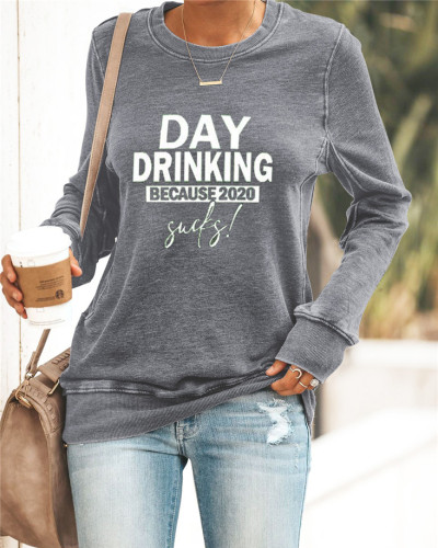 Gray Printed round neck casual pullover ladies sweater