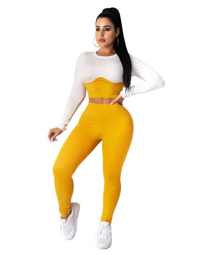 Yellow Two-piece casual home wear pit stripe color matching cropped short top