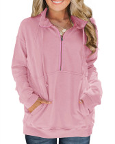 Pink Zipper lapel pullover ladies sweater