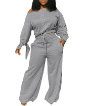 Light gray Two-piece casual solid color tie knotted wide-leg pants