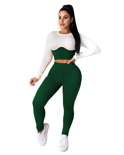 Dark green Two-piece casual home wear pit stripe color matching cropped short top