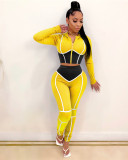 Yellow Yoga clothes contrast color tight two-piece sports suit