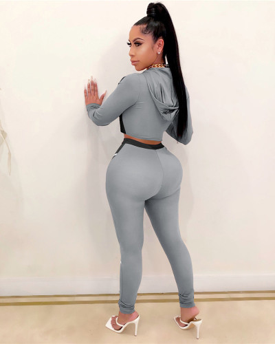 Gray Yoga clothes contrast color tight two-piece sports suit