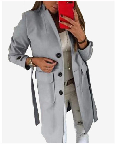 Gray Stylish Turndown Collar Buttons Design  Trench Coat