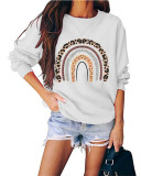 White Round neck pullover loose long sleeve top