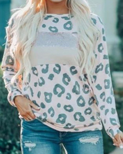 Pink Contrasting round neck long sleeve ladies pullover top