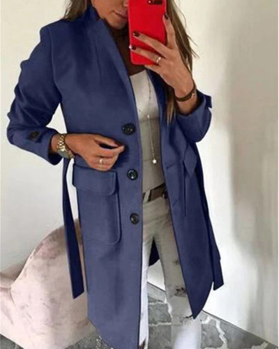 Bule Stylish Turndown Collar Buttons Design  Trench Coat